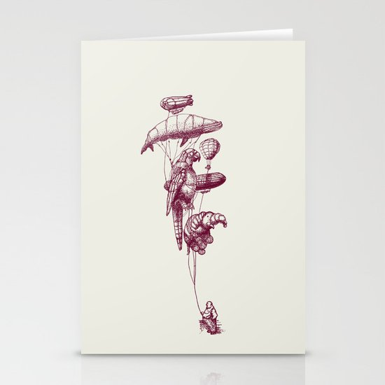 The Helium Menagerie (merlot)  Stationery Card