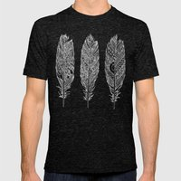 Patterned Plumes - White Mens Fitted Tee Tri-Black SMALL