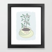 Yellow Planted Teacup Framed Art Print