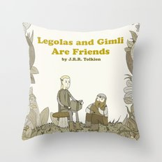 Legolas and Gimli Are Friends Throw Pillow