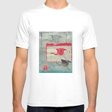 Blue Heron Collage SMALL White Mens Fitted Tee
