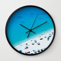 The beach. Blue sea mediterranean Greek beach. Summer seascape photography Wall Clock