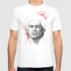 Dexter Morgan Portrait, Blood Splatters Mens Fitted Tee White SMALL