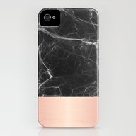 Black Marble And Pink  iPhone (4, 4s) Slim Case
