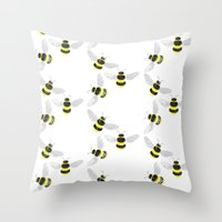 Fuzzy Bumblebees Throw Pillow