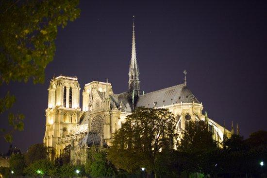 Notre Dame at Night Art Print