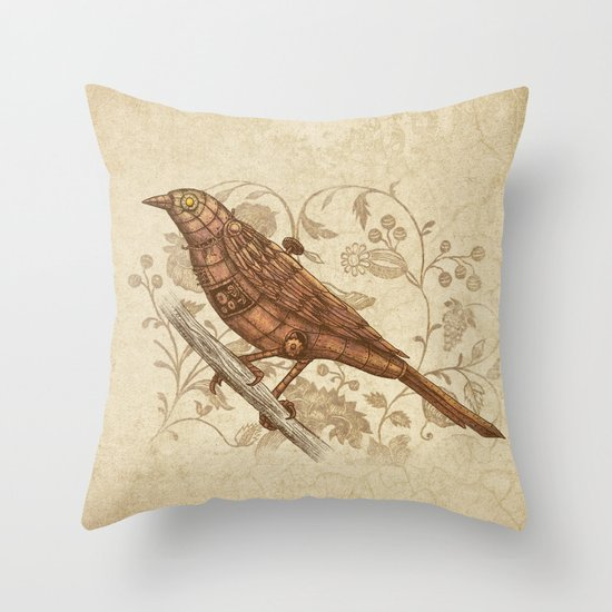 Terry Bird Decorative Pillow : Steampunk Songbird Throw Pillow by Terry Fan Society6