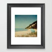 Blue Beach Umbrella Framed Art Print