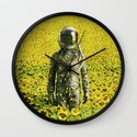 Stranded in the sunflower field Wall Clock