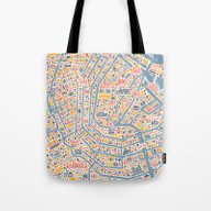 Amsterdam City Map Poste… Tote Bag