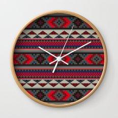 Navajo blanket pattern- red Wall Clock