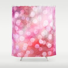 Strawberry Sunday - Pink Abstract Watercolor Dots Shower Curtain