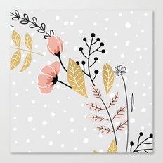 vector flowers grey Canvas Print
