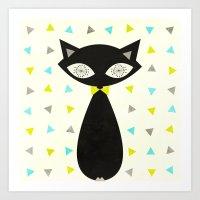 Mid Century Cat  Art Print