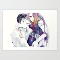 hair Art Prints featuring wakeful by agnes-cecile