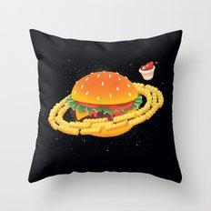 Galactic Cheeseburger & Fries Throw Pillow