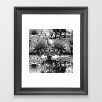 Summer space, smelting selves, simmer shimmers. [extra, 8, grayscale version] Framed Art Print