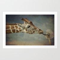 Cute baby Giraffe Art Print