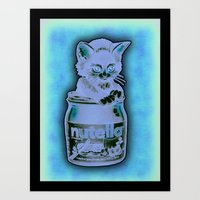 Kitten Loves Nutella Art Print