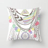 Tribal Necklace Throw Pillow