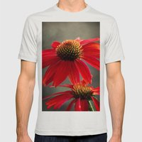 Red Coneflower Mens Fitted Tee Silver SMALL