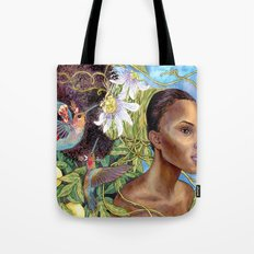 Fruits and Fantasy: Passion Fruit Fairies Tote Bag