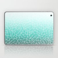 Ombre turquoise blue and white swirls doodles Laptop & iPad Skin