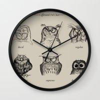 Caffeinated Owls Wall Clock