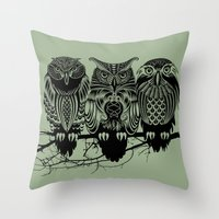 Owls Of The Nile Throw Pillow