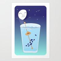 Waning Waterglass Moon -… Art Print