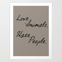 Love Animals Art Print