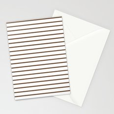 Horizontal Lines (Coffee/White) Stationery Cards
