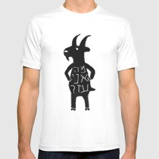 Goats White Mens Fitted Tee SMALL