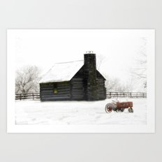 A Snowy Day in the Country Art Print