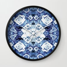 Blue Silk Tie-Dye Wall Clock