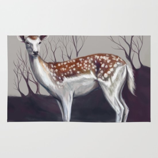 Deer in the forest Area & Throw Rug
