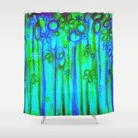 WINTER GARDEN -Bright Bl… Shower Curtain