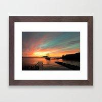 Autumn Sunrise Bar Harbor maine Framed Art Print