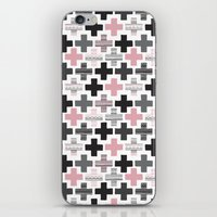 Geometric cross illustration plus sign pattern iPhone & iPod Skin