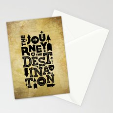 The Journey Is The Destination, Gold Map Stationery Cards
