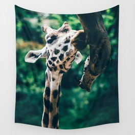 Wall Tapestry - Green Portrait Of A Giraffe - Pati Designs