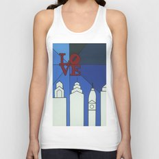 blue LOVE shine Unisex Tank Top