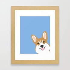 Corgi Peek  Cute Dog Wel… Framed Art Print