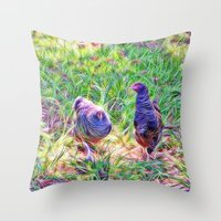 Hens In A Field Throw Pillow