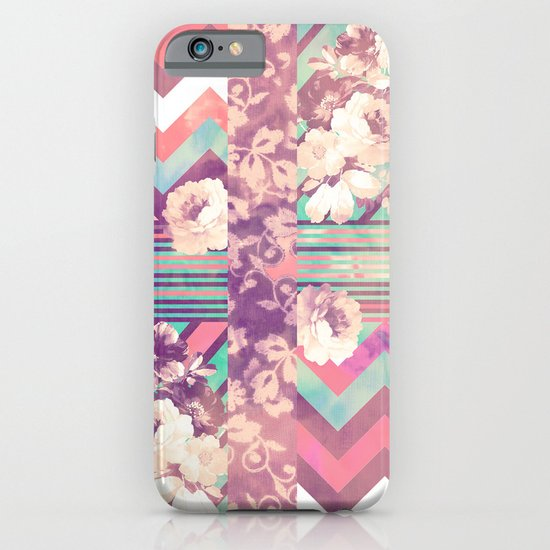 Retro Pink Turquoise Floral Stripe Chevron Pattern iPhone & iPod Case