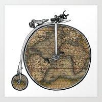 Penny Farthing Map Art Print