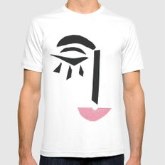 Modern Art Face Mens Fitted Tee SMALL White