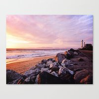 Vibrant Sunset over the Stacks at Huntington Beach, California Canvas Print