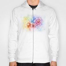 Flowers Rainbow Watercolor Hoody