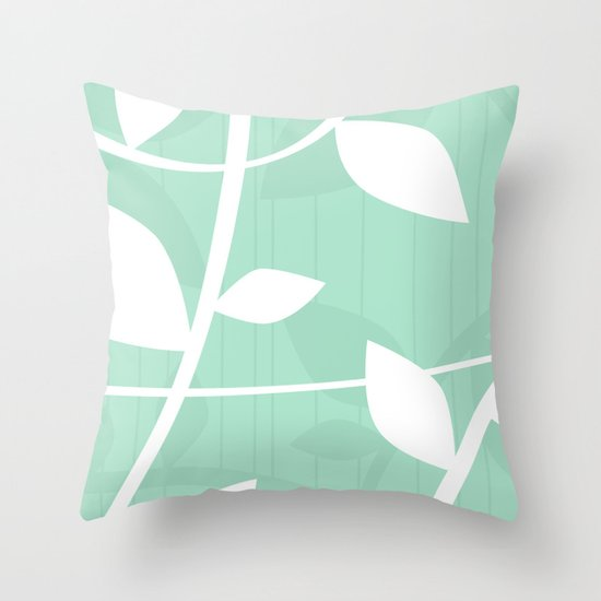 Vine pattern in Mint by Friztin Throw Pillow